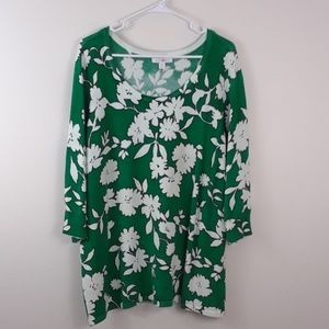 ROD & ALI 1X GREEN FLORAL SCOOPED NECK SWEATER